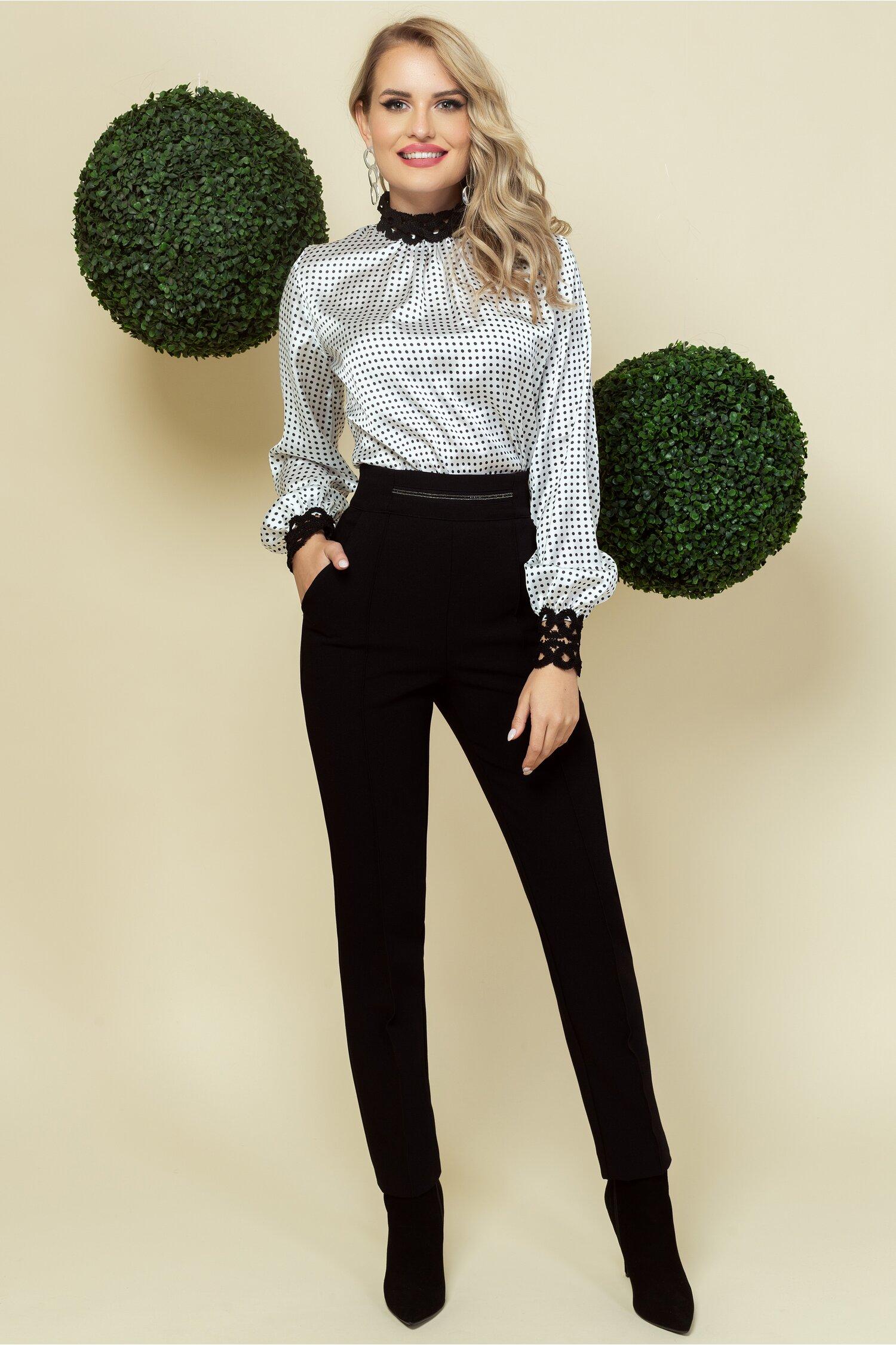 Pantaloni Pretty Girl negri cu strasuri delicate in talie
