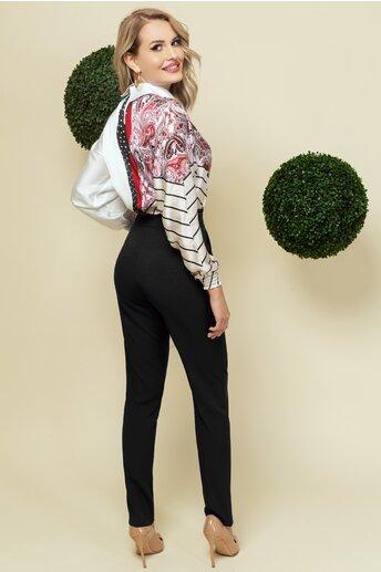 Pantaloni Pretty Girl negri cu volanas delicat in talie