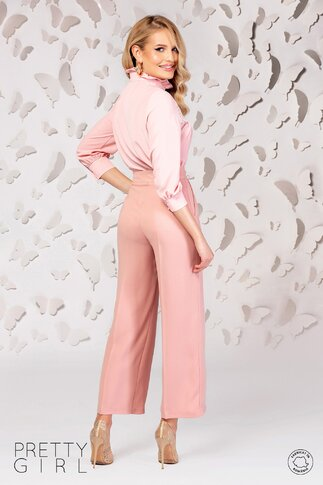 Pantaloni Pretty Girl roz somon lejeri cu buzunare