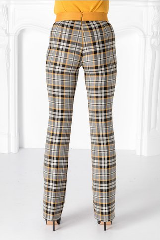 Pantaloni Pretty gri cu carouri galbene