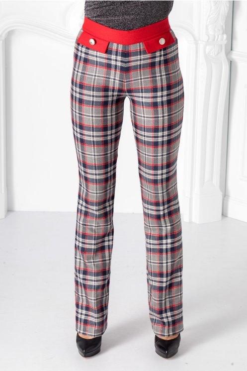 Pantaloni Pretty gri cu carouri rosii
