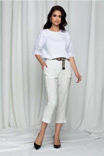 Pantaloni Raisa albi cu dungi si talie inalta