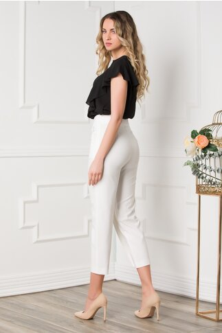 Pantaloni Reia albi cu aplicatie pe fata