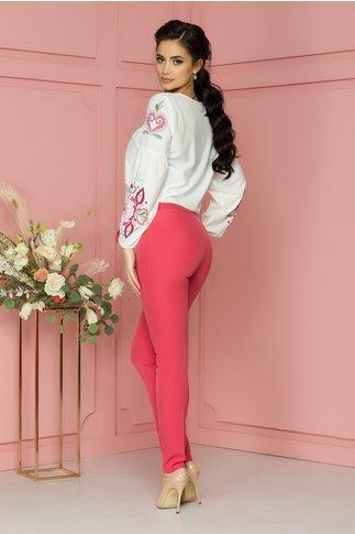 Pantaloni roz cu funda in talie si fermoar lateral