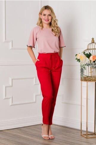 Pantaloni Sara rosii office cu pliuri si elastic in talie