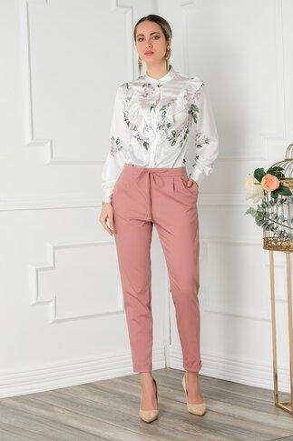 Pantaloni Sara roz coniac office cu pliuri si elastic in talie
