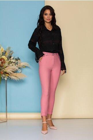 Pantaloni Sara roz cu dunga si curea in talie