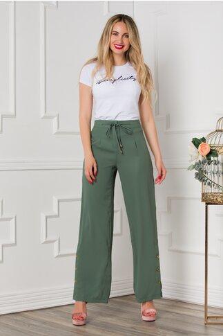Pantaloni Sarah kaki evazati