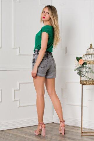 Pantaloni scurti gri din denim cu elastic in talie si baza rasucita