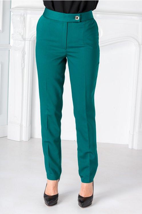 Pantaloni Selena office turcoaz