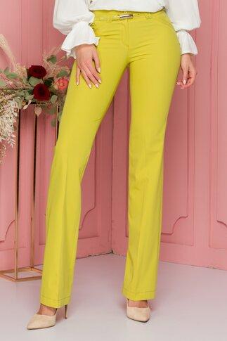 Pantaloni Serena vernil cu curea in talie