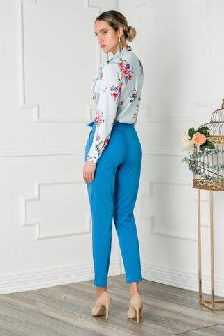 Pantaloni Sierra albastri cu funda in talie
