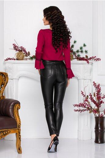 Pantaloni Sima negri din piele ecologica cu buzunare