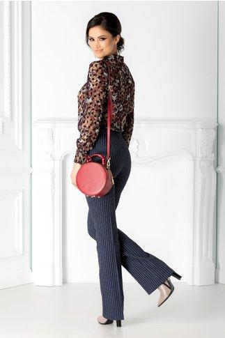 Pantaloni Simi bleumarin cu dungi roz