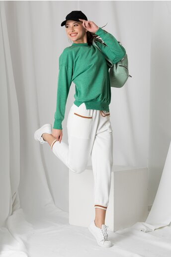 Pantaloni sport albi cu detalii maro