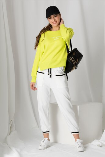 Pantaloni sport albi cu detalii negre