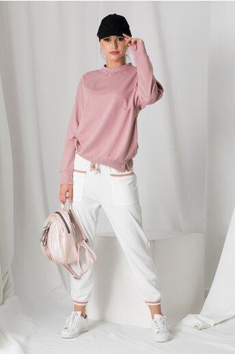 Pantaloni sport albi cu detalii roz
