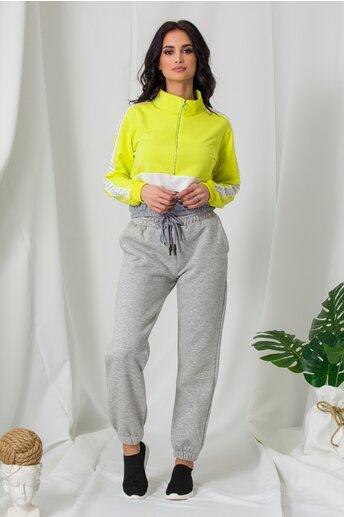 Pantaloni sport gri cu elastic in talie si la baza