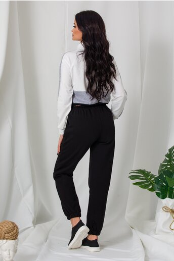 Pantaloni sport negri cu elastic in talie si la baza