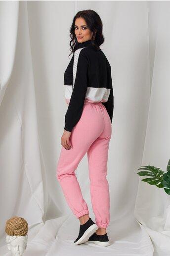 Pantaloni sport roz cu elastic in talie si la baza
