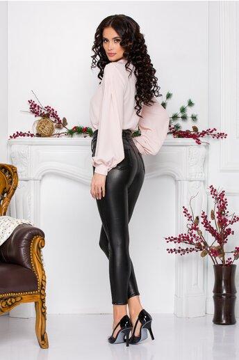 Pantaloni Tania negri din piele ecologica cu nasturi