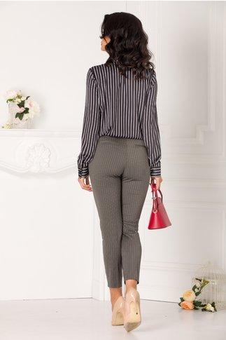 Pantaloni Theo gri office cu dungi subtiri