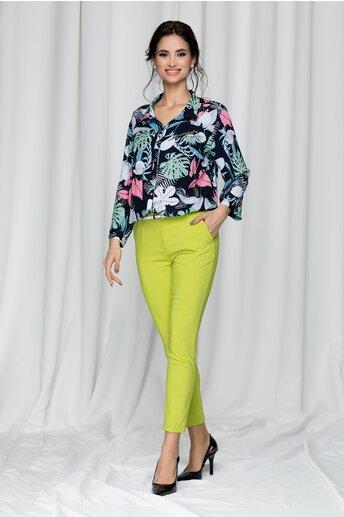Pantaloni Tina office verde lime cu dunga