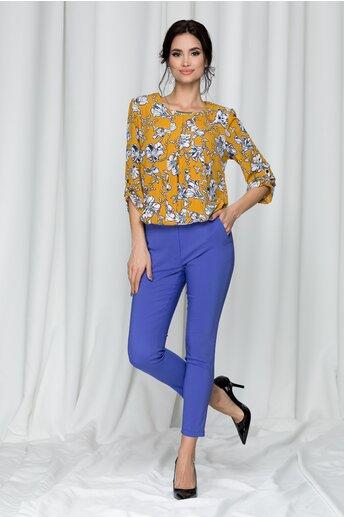 Pantaloni Tina office violet cu dunga