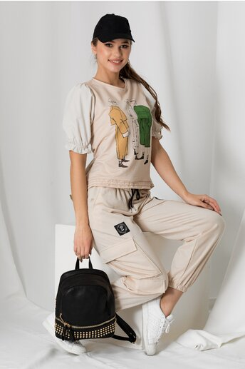 Pantaloni tip cargo crem cu elastic in talie