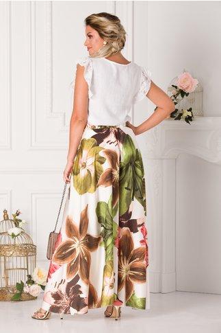 Pantaloni tip fusta albi cu imprimeu floral maxi