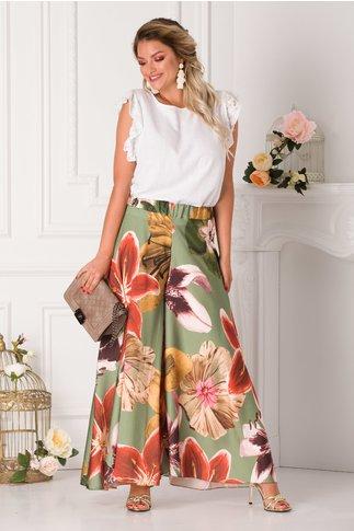 Pantaloni tip fusta kaki cu imprimeu floral maxi