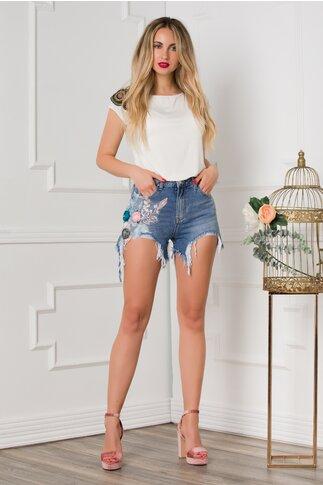 Pantaloni Vanya scurti din denim cu aplicatii si rupturi