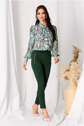 Pantaloni verde cu banda elastica in talie si buzunare