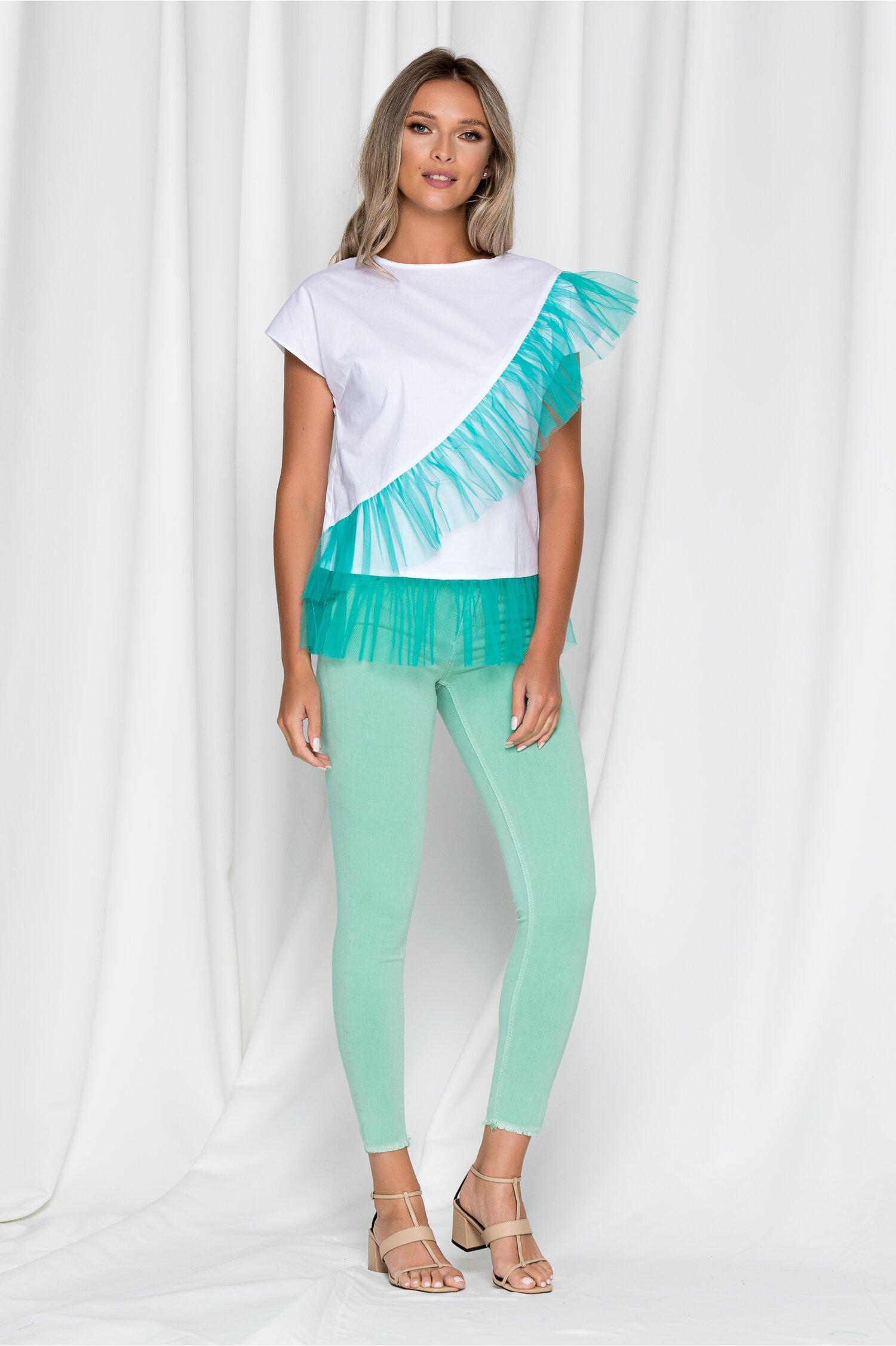 Pantaloni verzi din denim cu baza nefinisata