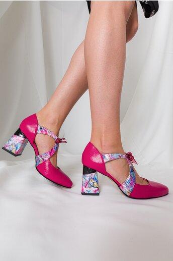 Pantofi Abi fucsia cu imprimeu si decupaj