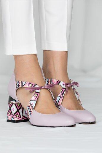 Pantofi Abi lila cu imprimeu si decupaj