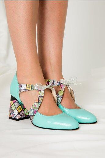 Pantofi Abi turcoaz cu imprimeu si decupaj