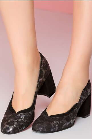 Pantofi Adonia negri cu imprimeu argintiu floral