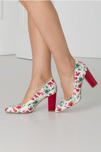 Pantofi albi cu imprimeuri florale si toc rosu