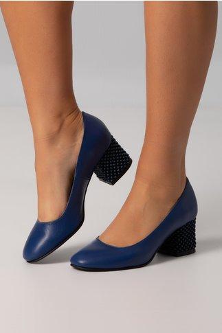 Pantofi Aron albastri office cu toc jos