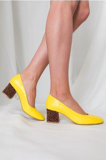Pantofi Aron galben aprins office cu toc jos si buline 3D