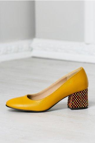 Pantofi Aron galben mustar office cu toc jos