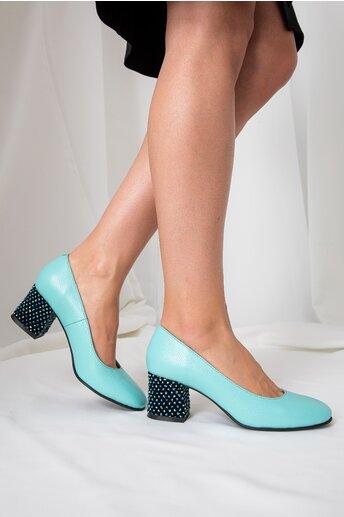 Pantofi Aron verde mint office cu toc jos si buline 3D