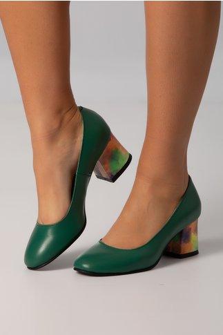 Pantofi Aron verde proaspat office cu toc jos