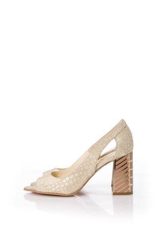 Pantofi aurii cu imprimeu reflectorizant si decupaj la varf