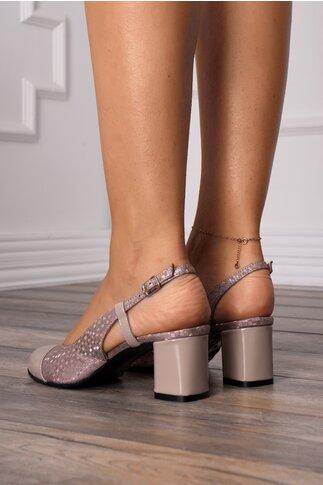 Pantofi bej cu imprimeu cu reflexii roze