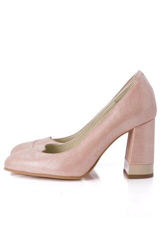 Pantofi bej sidefat cu toc gros si detalii stralucitoare