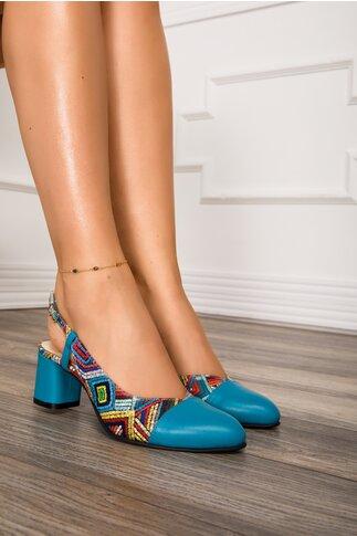 Pantofi bleu cu imprimeu multicolor cu toc comod