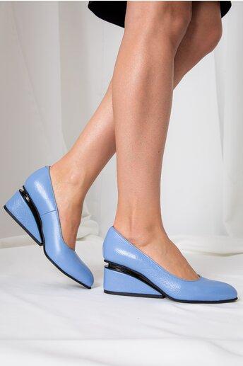 Pantofi bleu cu toc futurist din piele naturala