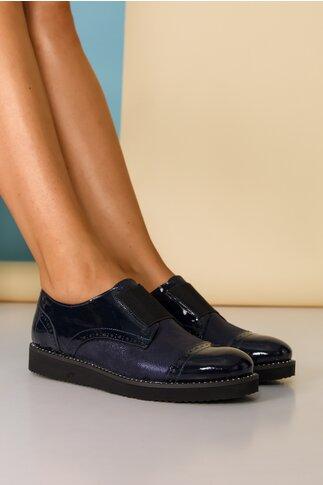 Pantofi bleumarin cu banda elastica si strasuri pe talpa